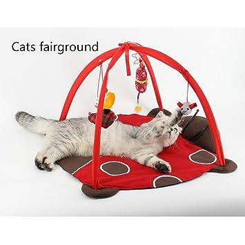 xinjiener Juguetes para gatos para gatos de interior Mat Cama de gatitos para mascotas con colgantes Juguete Bolas y ratones ...