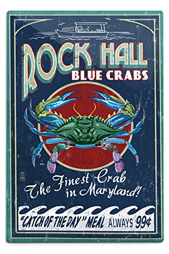 Lantern Press Rock Hall, Maryland - Blue Crabs Vintage Sign (12x18 Aluminum Wall Sign, Wall Decor Ready to Hang)