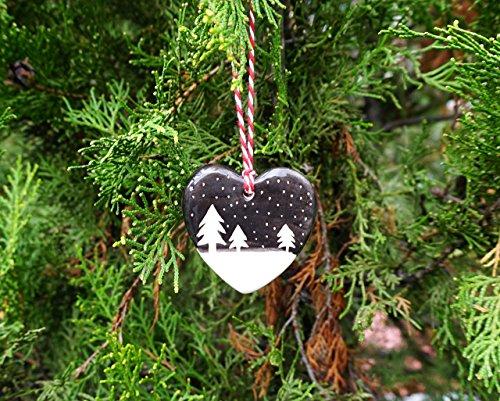Handmade Ceramic Heart Ornament with Snowy Night Silhouette