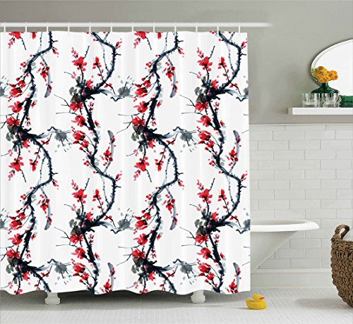 Ambesonne Asian Decor Collection, Flowers Season Classic Water Painting Style Artwork Tradition Oriental Summer Image, Polyester Fabric Bathroom Shower Curtain, 75 Inches Long, Dimgray Red Black