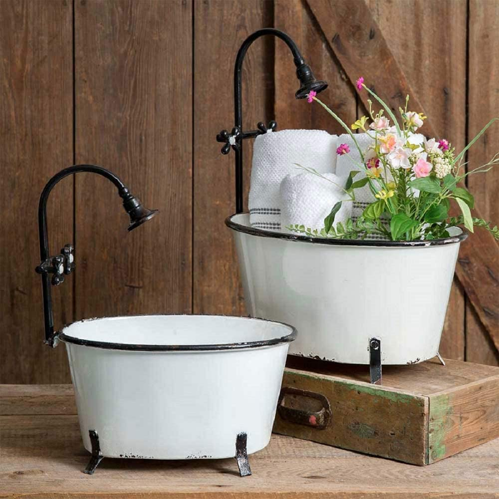 Set of Two Clawfoot Tub Garden Decor Flower Pot Planters Rustic Country Theme