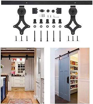 Kit de puerta corredera fácil de instalar con riel deslizante de acero para puertas de granero, hardware de acero al carbono, kit de riel para puerta individual: Amazon.es: Bricolaje y herramientas