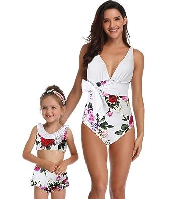 a0cf999c96 Mère et Fille Une Pièce Famille Bikini Maillot De Bain Floral Sangle Femmes  Bébé Filles Tenue