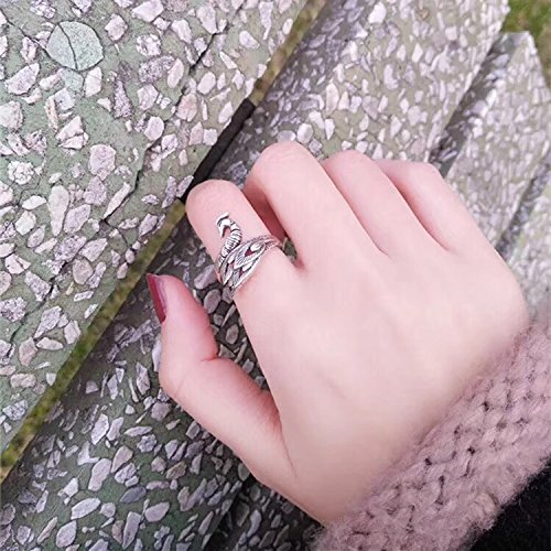 Generic Japan and South Korea to do the old retro simple Thai silver rings women girls lady joint new Phoenix peacock combination index finger ring influx of people Accessories by Generic