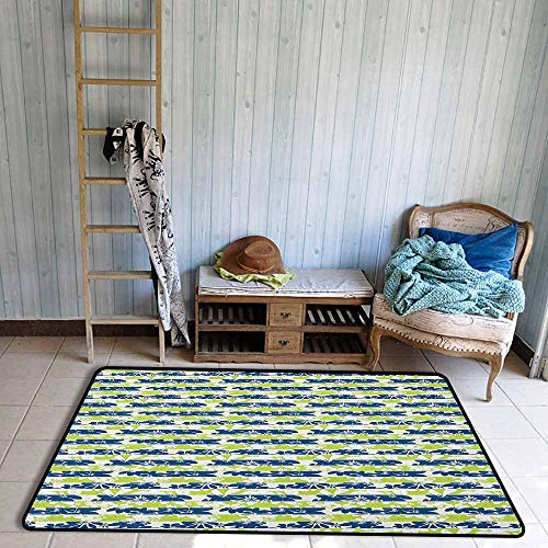 (Bedroom Rug,Floral Stripes with Nature Blossom Silhouettes Coming of The Spring Theme,Rustic Home Decor,4'11