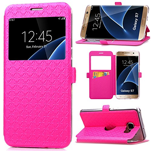 S7 Case, Galaxy S7 Case, ArtMine Quilted Plain Color Window View Function PU Leather Flip Folio Book Style Card Slots Kickstand Wallet Phone Case for Samsung Galaxy S7 Rose