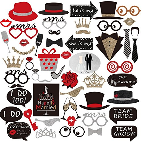 Fcoson 54 Pieces Photo Booth Props DIY Kit Dress-up Supplies Party Favors for Birthday Party Carnival Wedding Decoration -