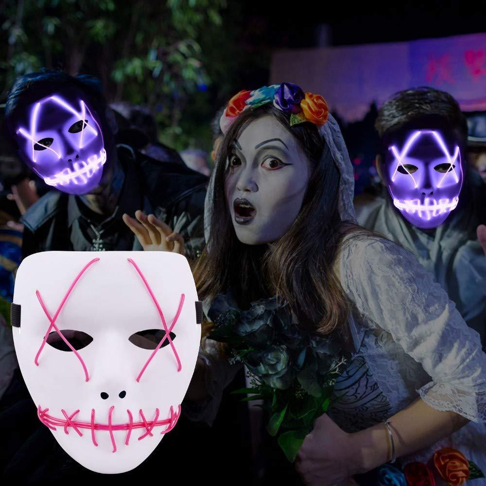 Lianaic Máscara Skull Led Mask El Wire Wire Wire Mask Light Up Neon para La Fiesta De Halloween Y El Concierto Scary Funny Party Theme Cosplay Series Full Face Masks como Imágenes 4 d8c166