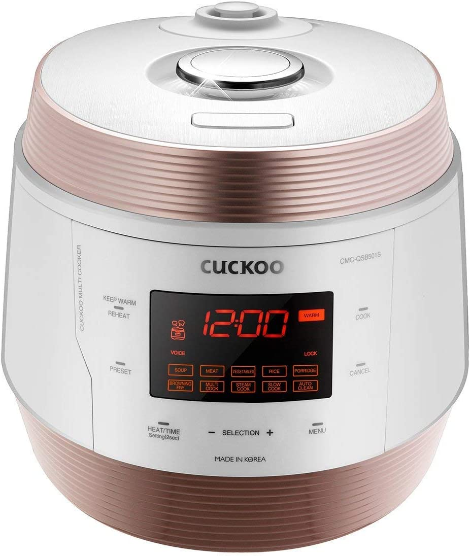 Cuckoo CMC-QSB501S, Q5 Premium 8 in 1 Multi (Pressure, Slow, Rice Cooker, Browning Fry, Steamer, Warmer, Yogurt, Soup Maker) Stainless Steel, Mad, Q50 Non-Stick Coating, GOLD/WHITE (Renewed)