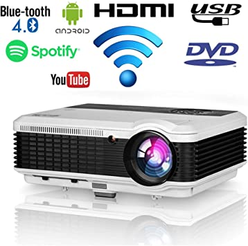 EUG Proyector de video LCD HD WXGA 1080P Dual HDMI USB con 4500 ...