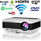 Wireless LED Home Movie Projector 2020 Updated LCD Smart Android Wifi Projector HD Support 1080P Airplay with HDMI USB…