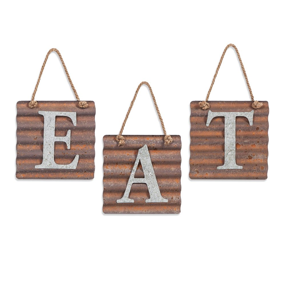 Xing Cheng Wall Metal Plaque Sign Eat Letter Sign Wavy Metal Plate for Kitchen