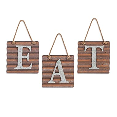 Xing Cheng Eat Letters for Kitchen Decor,Metal Plaque Signs Rustic Farmhouse Country Decorative Wall Art