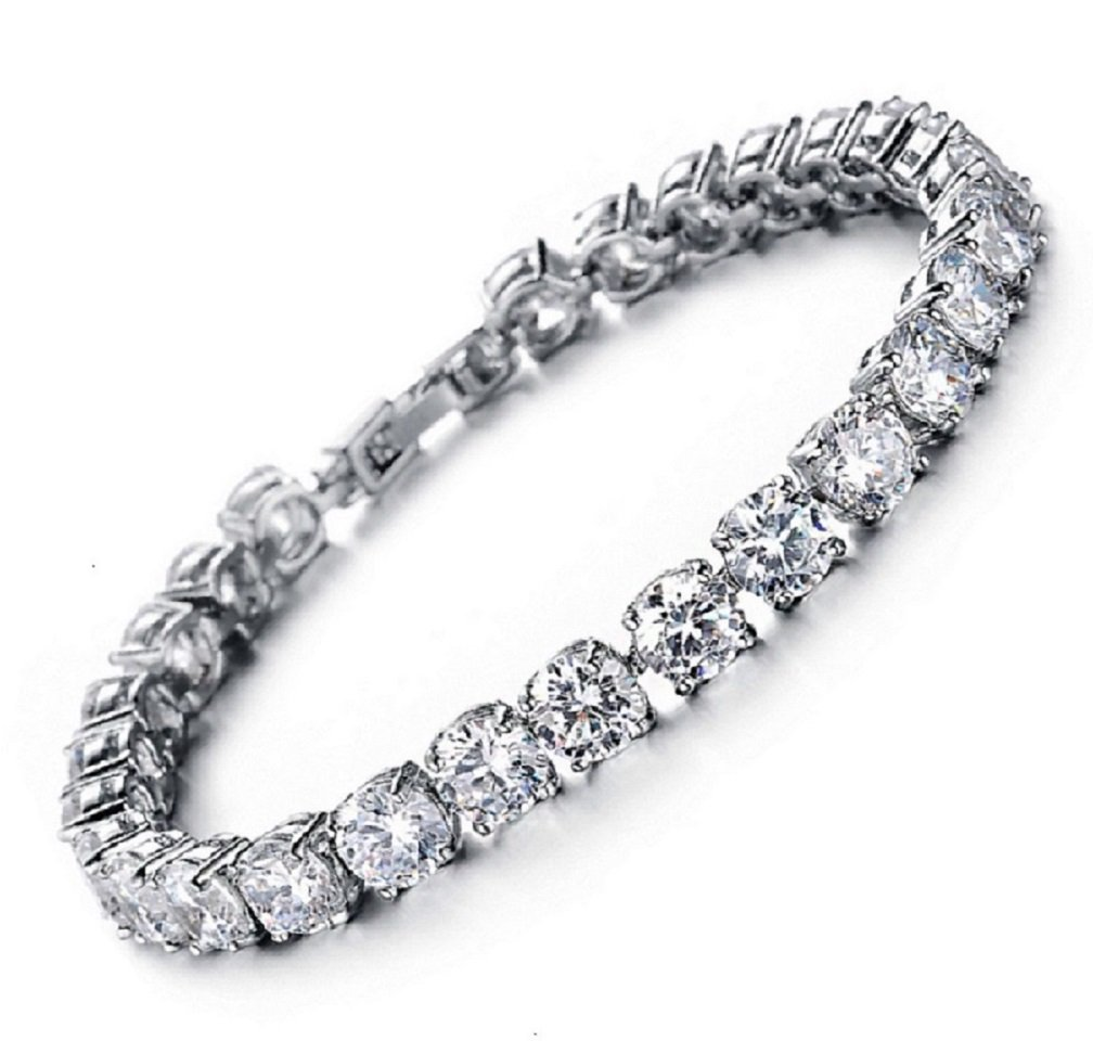 Meetyoo Tennis Bracelet With Swarovski Elements Crystal Jewelry Women Lady Zirconia Platinum Plated Bangle for her