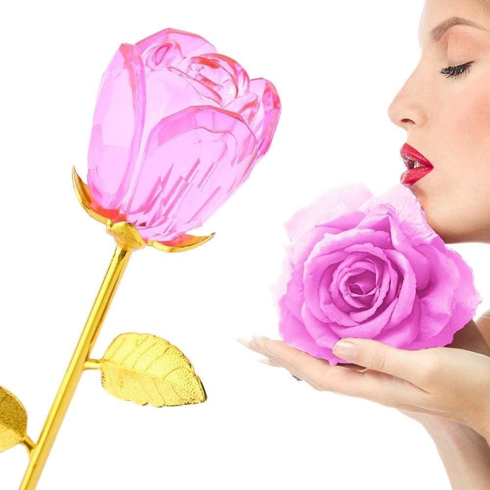 zjchao Rose Muttertagsgeschenk Valentinstag Geschenk goldrose 24 karat rosa Crystal Rosenknospe mit Gold 24K Stem Muttertag Valentinstag Muttertag Jubil/äum Hochzeit Geburtstagsgeschenk