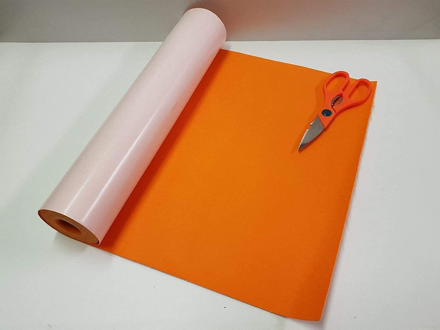 1/2 Mtr x 450mm Wide roll of Orange Sticky Back SELF Adhesive Felt/Baize GCH