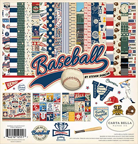 Carta Bella Paper Company CBBA95016 Baseball Collection Kit Paper Brown, red, Blue, Navy, Green, ()