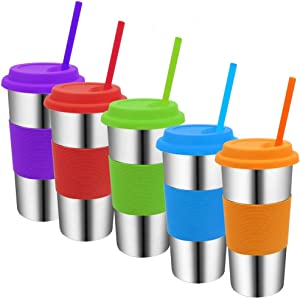 Stainless Steel Cups with Lids and Straws,20oz Metal Drinking Cups with Silicone Straws,Metal Kids Travel Tumblers with Lids,Spill Proof Straw Cups with Lids for Adults and Kids