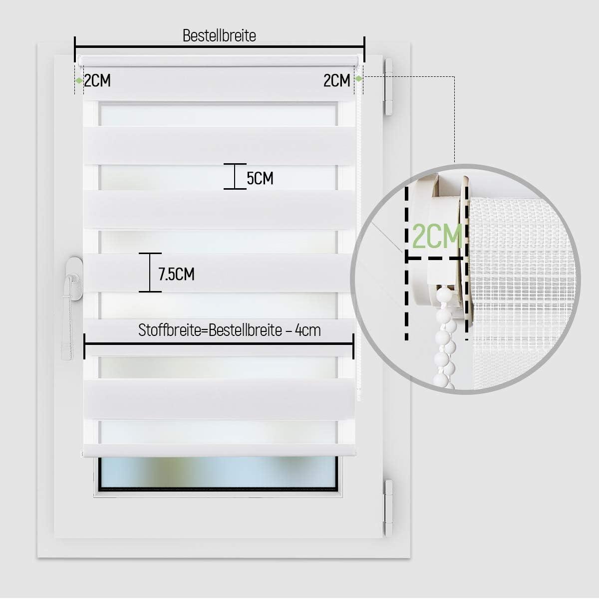 Fenster Duo Rollo Sicht und Sonnenschutz Wei/ß, B50cm x H120cm Lichtdurchl/ässig und Verdunkelnd Rollos f/ür Fenster /& T/üren. OUBO Doppelrollo Klemmfix ohne Bohren mit Klemmtr/ägern