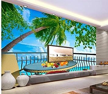 Sykdybz 3D Landschaft Wallpaper 3D Wallpaper Meerblick Terrasse Szenischen  Hintergrund Baum Wandbild Fototapete Wohnzimmer 3D