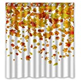 Shower Curtain Sizes FMSHPON Autumn Falling Maple Leaves Polyester Fabric Bathroom Shower Curtain Size 66 x 72 Inches