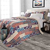 3 Piece Multi Patchwork Stripes Quilt Full/Queen Set, Orange Tan Brown Southwestern Lodge Pattern, Tribal Native Bohemian Floral Print, Reversible Bedding, Lightweight Rustic Style, Cotton