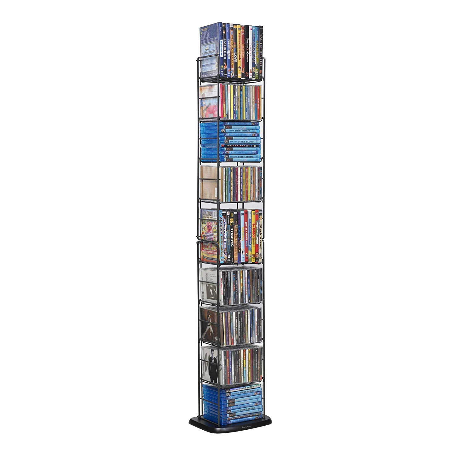 Atlantic Adjustable Wire Media Rack - Heavy Gauge Steel, Holds 153CDs 05 72 DVDs, 8 Adjustable Shelves PN78205091 (Brand Edition) by Atlantic
