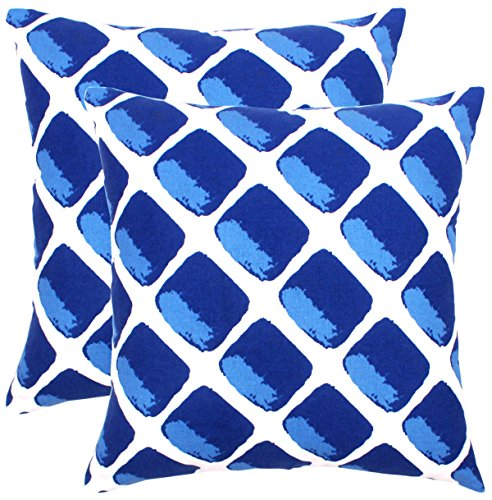 Isabella Beddings Accent Throw Pillow Case Cover 100% Cotton Cushion Covers Square Eco-Friendly Home Decor for Sofa Couch Bed Royal Blue 18x18 inch 45x45 cm Pack of 2