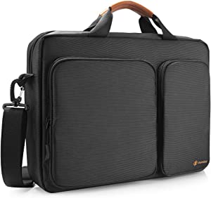 tomtoc Travel Messenger Bag 15.6 Inch with Protective Laptop Compartment Briefcase Shoulder Bag Fit for 13-15 Inch HP Dell Acer Lenovo Asus Samsung Notebook Tablet, Black