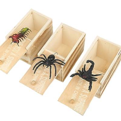 Amosfun 3pcs araña de Madera Insecto Sorpresa Caja de Broma Scare Box Broma Juguete darle un Caso Sorpresa interesantes: Juguetes y juegos