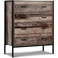 MODAA Industrial Style 4 Drawers Chest Tallboy Dresser Storage Cabinet, Unique Rustic Metal Tube Legs Fame with…