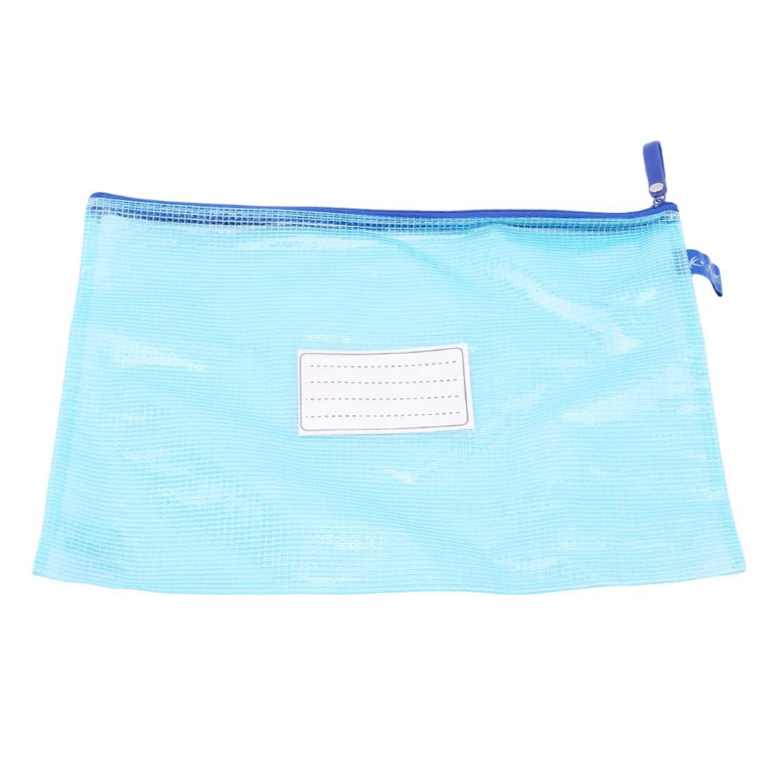 VWH Waterproof Plastic Zipper Papier Datei Ordner Buch Bleistift Stift Tasche Dokumententasche blau