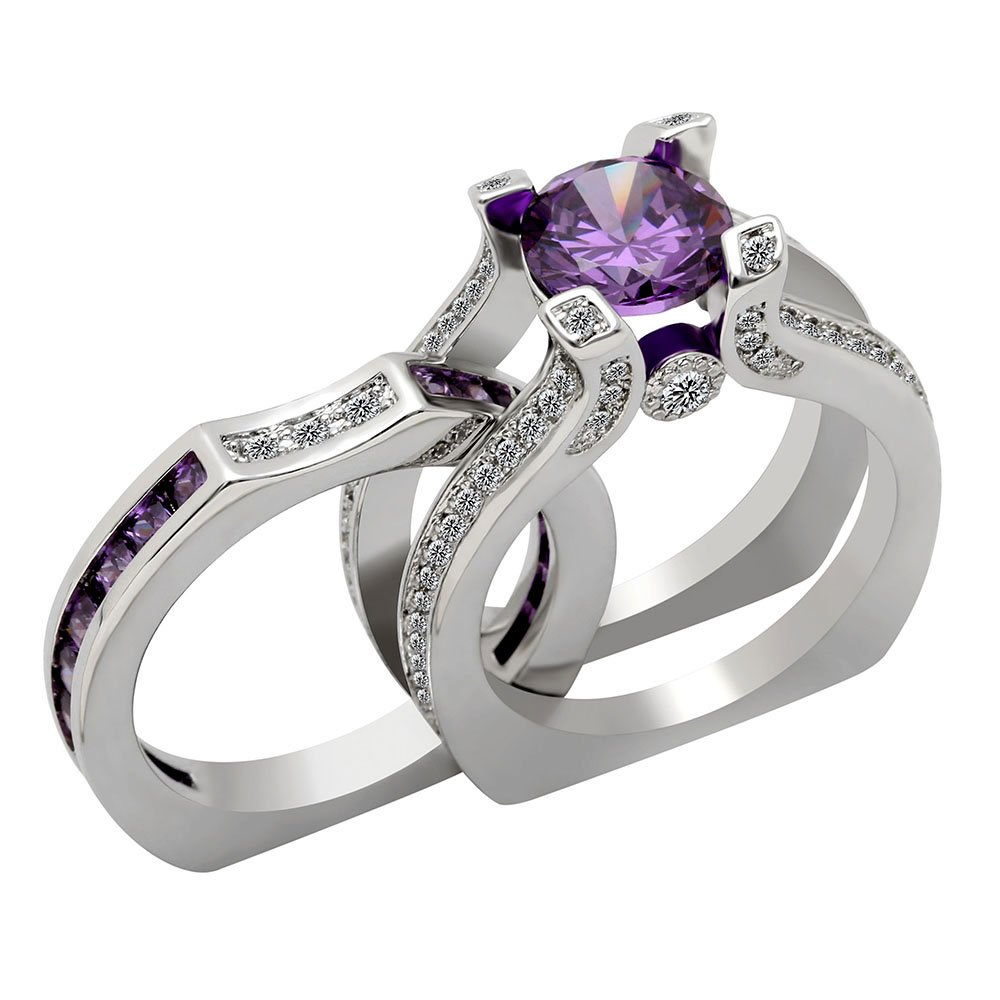 Ginger Lyne Collection Skylar Engagement Ring Wedding Purple CZ Band Bridal Set