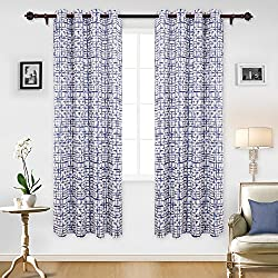 Deconovo Modern Geometric Decor Curtains Geometric Print Thermal Insulated Blackout Curtains for Living Room 52W x 84L Inch Navy Blue 1 Pair