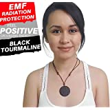 EMF RADIATION PROTECTION Shield Pendant Necklace for Cell Phone, Home, Electronics - Negative Ions + Anti EMF Technology - Made of Black Tourmaline to Block Device Radiation - Scalar Negative Ions
