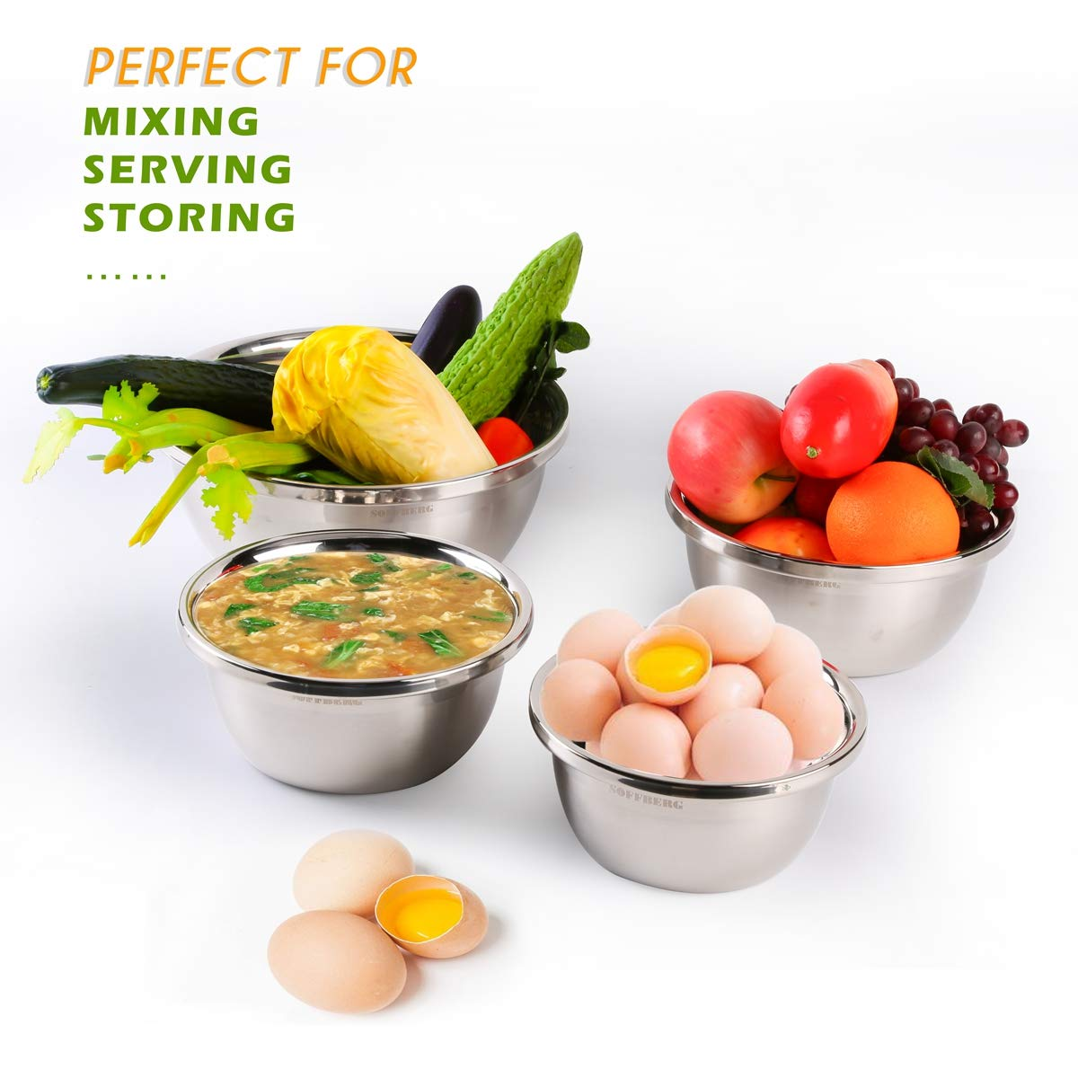 Set of 6 Mixing Bowls Stainless Steel Nesting and Convenient Storage for Meal prep, Salad, Cooking, Baking, Serving by SOFFBERG (Image #6)