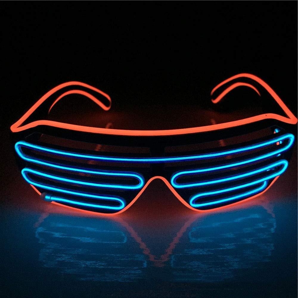 LYX Light Shutters Neon LED Flash Glasses, LED Sunglasses, Music Party Luminous Glasses, Christmas Luminous Glasses, Parties, Bars, Carnival, Festivals, Etc. (Color : Blue+Orange) by LYX
