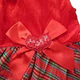 Edal Shining Red Grid Bow Pet Dog Christmas Clothes Dress Puppy Costume