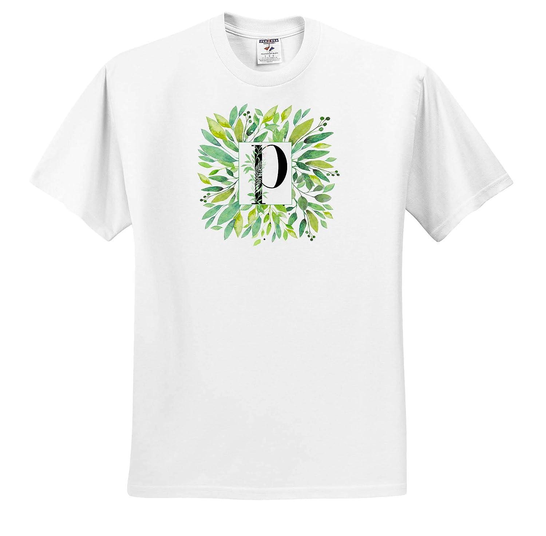 Pretty Image of Watercolor Greenery Leaves Monogram P Adult T-Shirt XL Monograms ts/_318095 3dRose Anne Marie Baugh