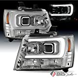 2007-2014 Suburban/Tahoe Chrome Projector Headlights w/DRL-Light-Tube Built-In 2008 2009 2010 2011 2012 2013 Pair L+R