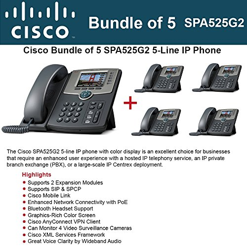 Cisco SPA525G2 5-Line IP Phone (5 Pack) (Centrex Business Telephone)