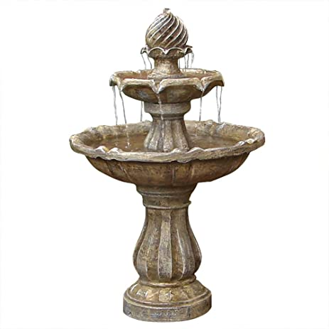 Sunnydaze Two Tier Solar Power Outdoor Water Fountain, Earth Finish, 35  Inch Tall