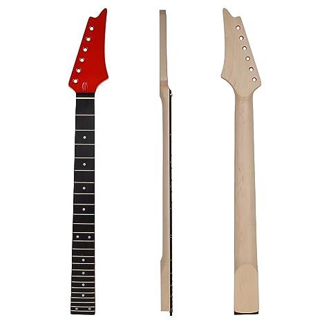 Kmise color rojo brillante 24 trastes para guitarra eléctrica Cuello ...