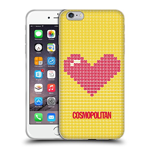 Official Cosmopolitan Red On Yellow Pixel Heart Lovey Soft Gel Case for Apple iPhone 6 Plus / 6s Plus
