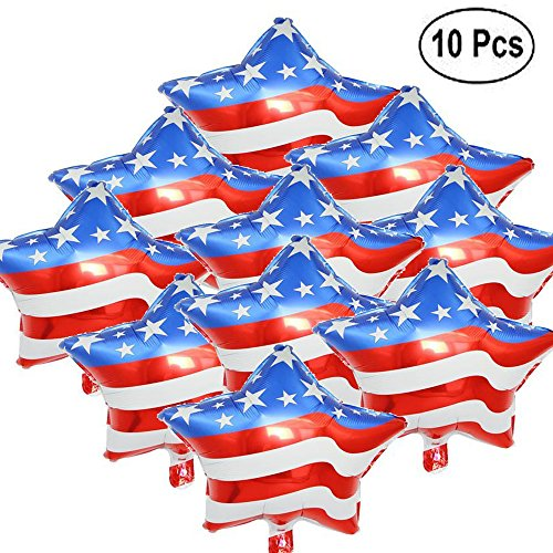 BinaryABC American Flag Aluminum Balloon Birthday Party Decorations Children Toy Balloons 18 inch(10pcs)