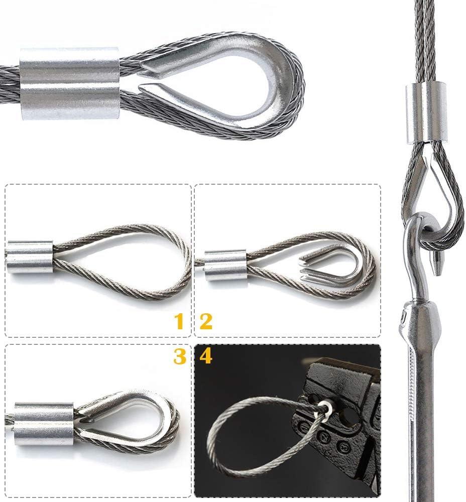 Kits de Garde-Corps de C/âble de 1//8 pour poteau en bois cr/épine de tendeur de fil de tendeur en acier inoxydable 304 cosse et boucle de sertissage en aluminium vis de tire-fond