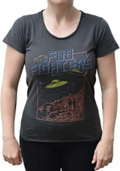 Flying Saucers Women/'s Charcoal T-Shirt Amplified Foo Fighters