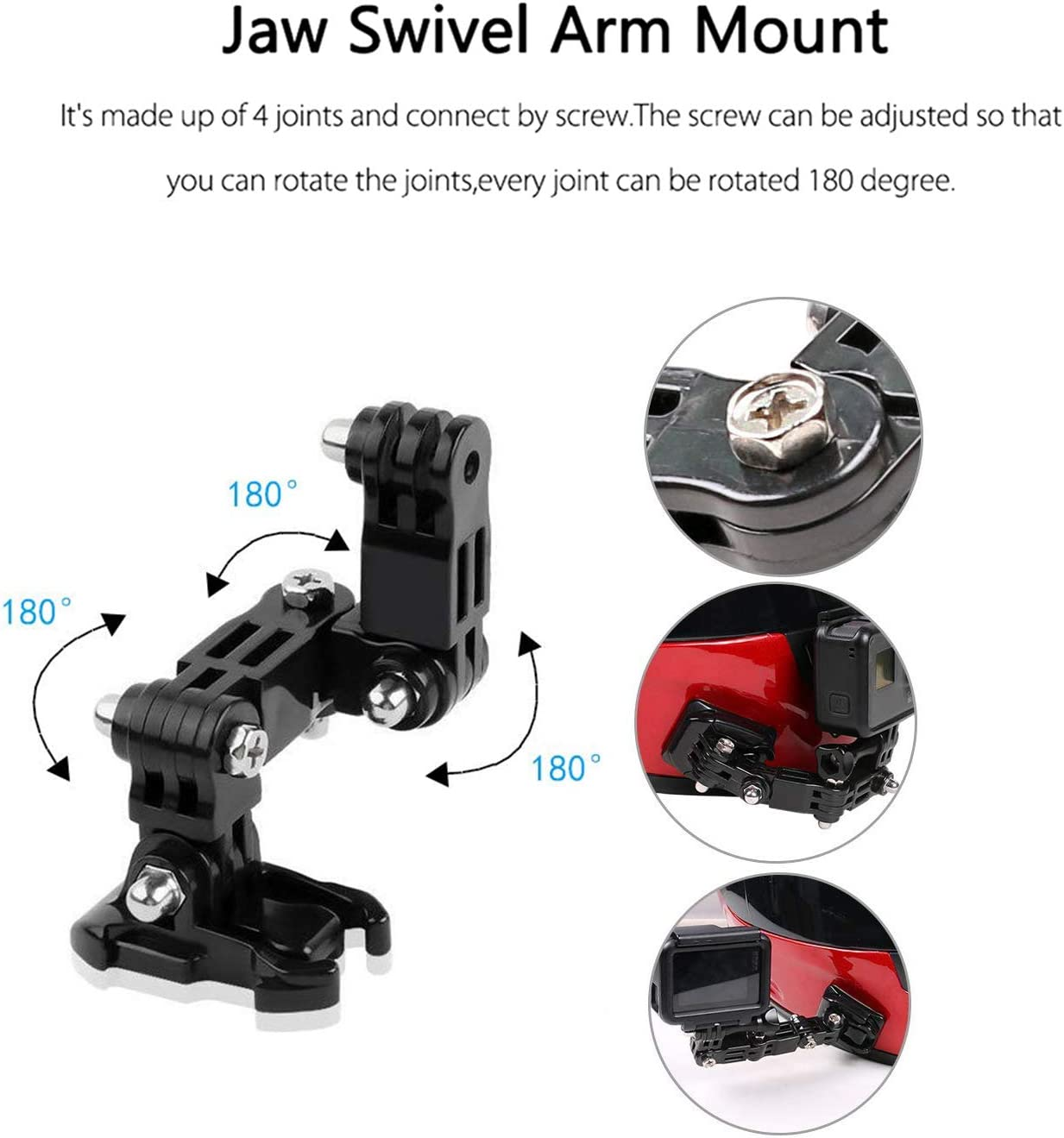 2018 Lowpter Motorcycle Helmet Mount Kits for GoPro Hero 7Black// //6//5,4 Session,3+,DJI Osmo Action//YI Action Camera and More.