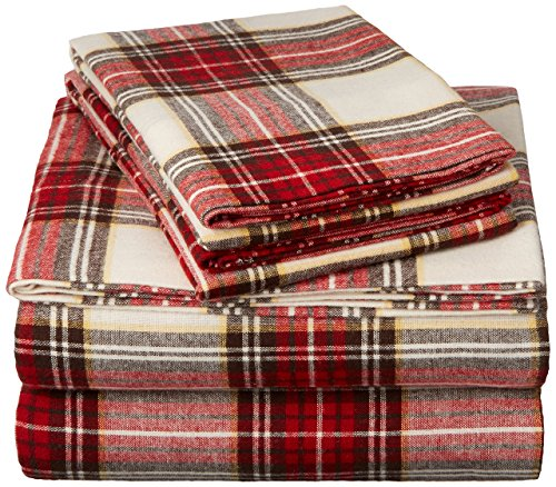- Pinzon Plaid Flannel Bed Sheet Set - Twin XL, Cream and Red Plaid