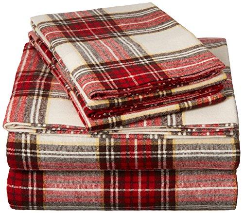 Pinzon 160 Gram Plaid Flannel Sheet Set - Cal King, Cream/Red Plaid - FLSS-BRPL-CKG (Sheets Flannel Tartan)